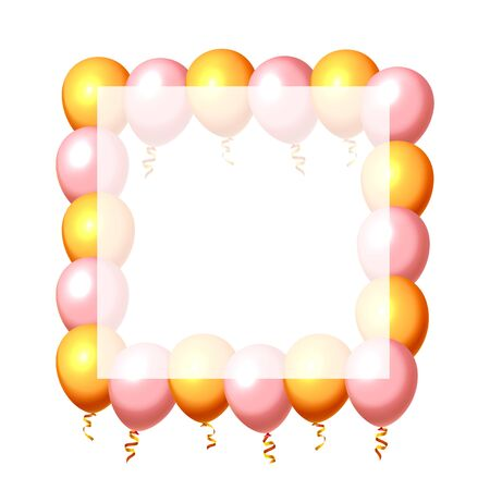 Festive balloon in an empty frame, color golden and pink. Vector illustration Stock Illustratie