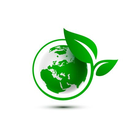 Ecology organic green planet earth. sign on a white background. Vector illustration Иллюстрация