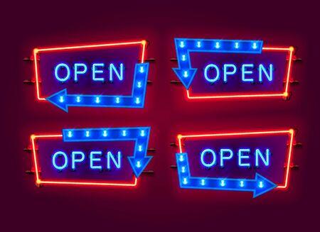 Neon open frame arrow set collection. template design element. Vector illustration Иллюстрация