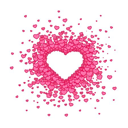 Pink hearted background with a Valentines Day title on it. Vector illustration. Archivio Fotografico - 129880593