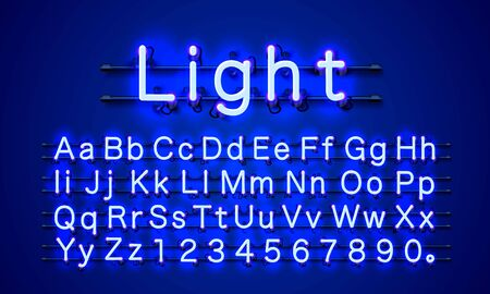 Neon light color blue font. English alphabet and numbers sign. Vector illustration