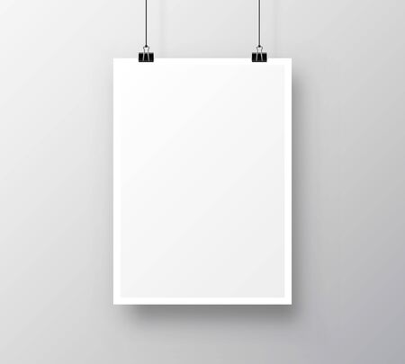 Paper poster A4 on the grey background. Vector illustration Çizim