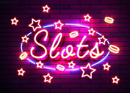 Casino slots signs. Neon logos slot machine gambling emblem, the bright banner neon casino for your projects. Night light billboard, design element. Vector illustration