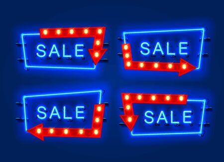 Neon sale frame arrow set collection. template design element. Vector illustration