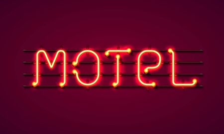 street sign of the motel. Neon motel banner. Vector illustration
