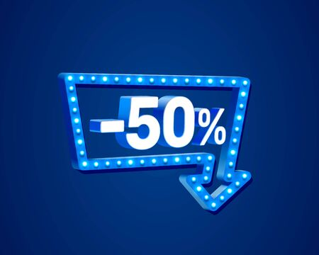 Banner 50 off with share discount percentage, neon signboard arrow. Vector illustration 写真素材 - 129827651