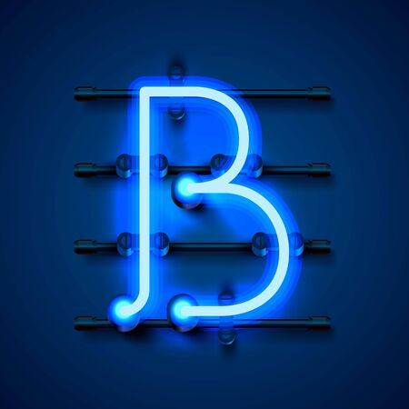 Neon font letter b, art design signboard. Vector illustration Фото со стока - 129881285