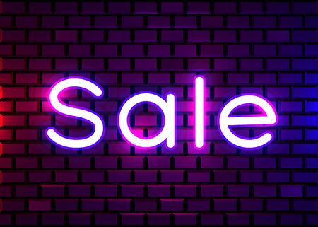 Neon sign, the word Sale on dark background. Discount Background for your design, greeting card, banner. Vector illustration  イラスト・ベクター素材