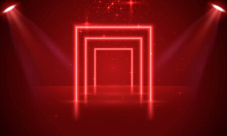 Neon show light podium red background, scene illuminated. Vector illustration