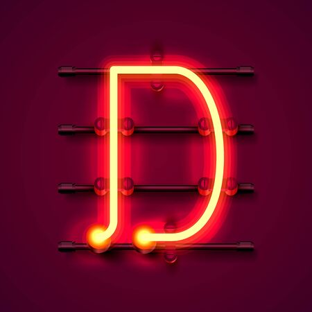 Neon font letter d, art design signboard. Vector illustration