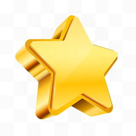 Golden star isolated on transparent Background. Christmas, or award sign. Vector ililustration