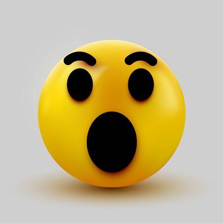 Surprised emoji isolated on white background, shocked emoticon. Vector illustration