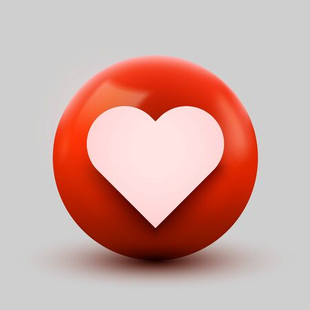3D Heart ball sign Emoticon Icon Design for Social Network. Modern Emoji. Vector illustration Ilustração