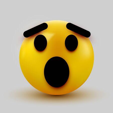 Surprised emoji isolated on white background, shocked emoticon. Vector illustration Ilustrace