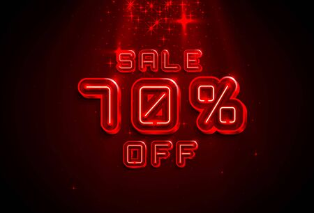 Neon frame 70 off text banner. Night Sign board. Vector illustration Фото со стока - 129965001