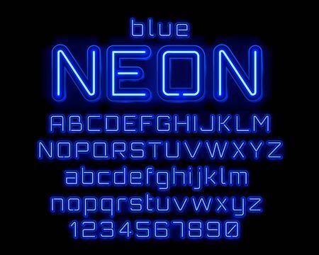 Fuente de color azul de la ciudad de neón. Signo de números y alfabeto inglés. Ilustración vectorial Ilustración de vector