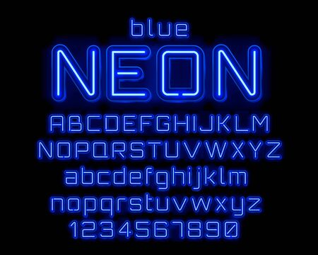 Neon city color blue font. English alphabet and numbers sign. Vector illustration Vector Illustration