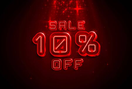 Neon frame 10 off text banner. Night Sign board. Vector illustration Фото со стока - 129965011