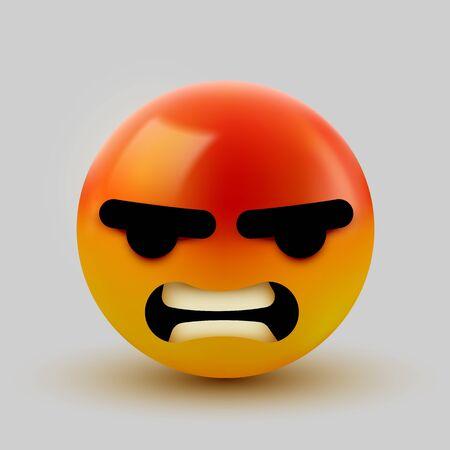 3D Angry, mad emoji sign. Emoticon Icon Design for Social Network. Grinning emoticon. Emoji, smiley concept. Vector illustration Illusztráció