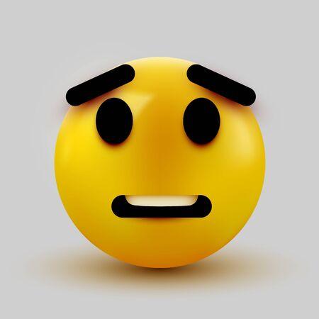 Scared emoji isolated on white background, shocked emoticon. Vector illustration