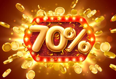 Sale 70 off ballon number on the red background. Vector illustration