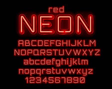 Neonowe miasto kolor czerwony czcionka. Znak alfabetu angielskiego i cyfr. Ilustracja wektorowa