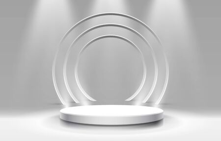 White winners podium for business concepts, Podium object. Vector illustration