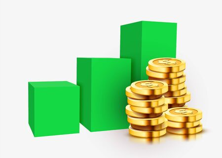 Growing stack of golden dollar coins with rising graph isolated on white background. Economics concept. Vector illustration