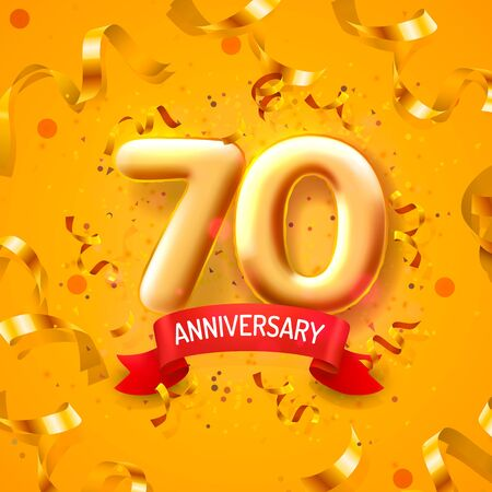 Anniversary ceremony balloons, 70 numbers balloons banner. Vector illustration