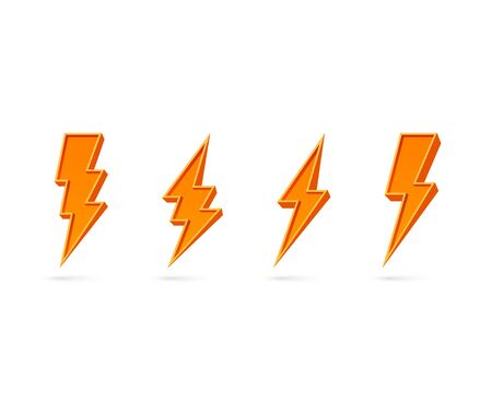 Electric lightning, set of icons on a white background. Vector illustration  イラスト・ベクター素材