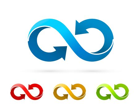 Symbol of infinity art info, color set collection. Vector Illustration Çizim