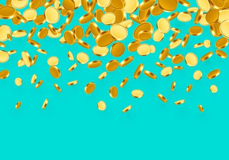 Falling from the top a lot of coins on a Turquoise background. Vector illustration Ilustração