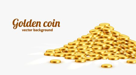 Gold shiny coins with star signs in heap. Big bunch of old metal money. Precious expensive treasure. Vector illustration