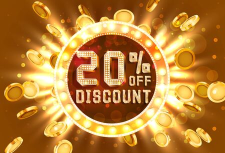 Golden frame 20 sale off text banner. Money explosion gold. Vector illustration