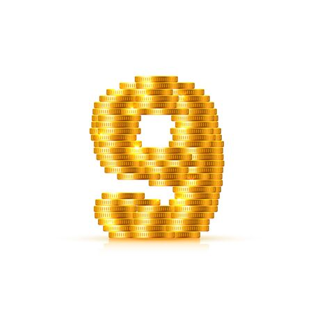Vector font style made of golden coins. Coin numbers. Number 9. Nine. Vector illustration