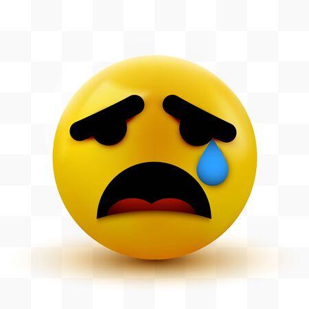 Crying sad emoticon, emoji, smiley. Social network concept. Vector illustration