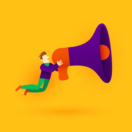 Small cartoon man with megaphone. Announcement or information concept. Vector illustration