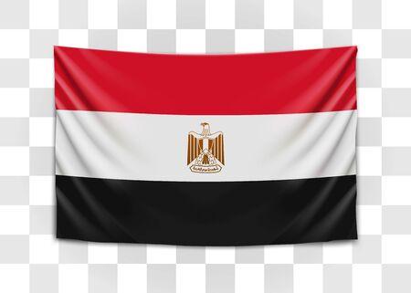 Hanging flag of Egypt. Arab Republic of Egypt. National flag concept. Vector illustration.