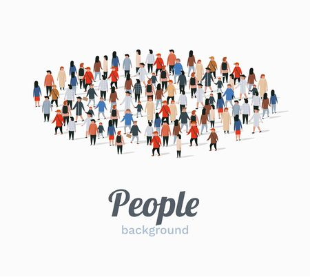Template for advertising brochure with people crowd in shape of circle. Vector illustration Иллюстрация