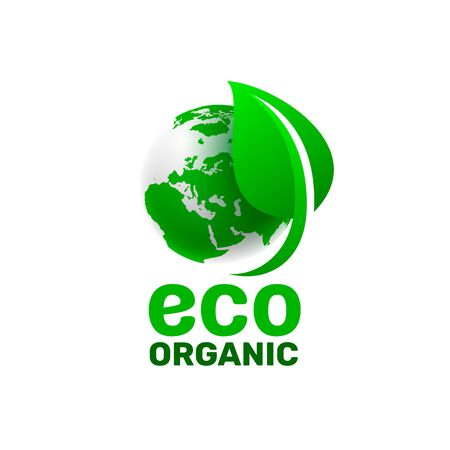 Ecology organic green planet earth. sign on a white background. Vector illustration Illustration