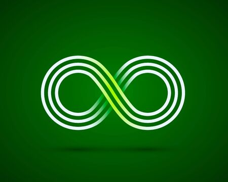Infinity line symbol on the green background. Vector illustration