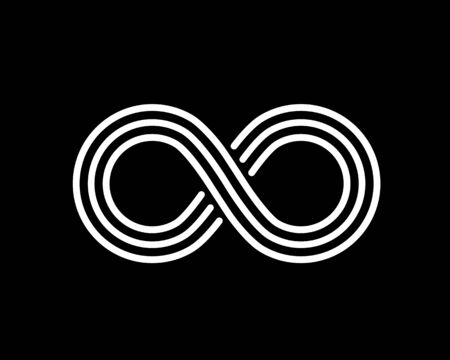 Infinity line symbol on the black background. Vector illustration