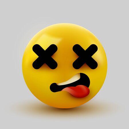 Dead face emoji. Cross eyes emoticon 3d rendering. Vector illustration