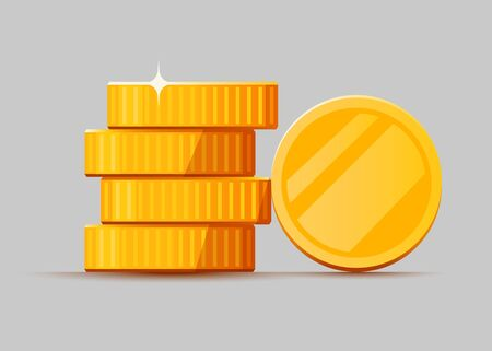 Growing stack of golden dollar coins isolated on white background. Economics concept. Vector illustration Ilustração