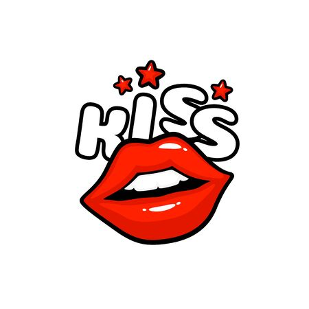 Kiss label sticker. A kiss of a message. Red lips. Vector illustration Иллюстрация