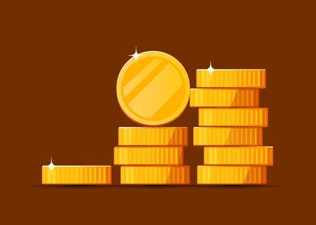 Growing stack of golden dollar coins background. Economics concept. Vector illustration