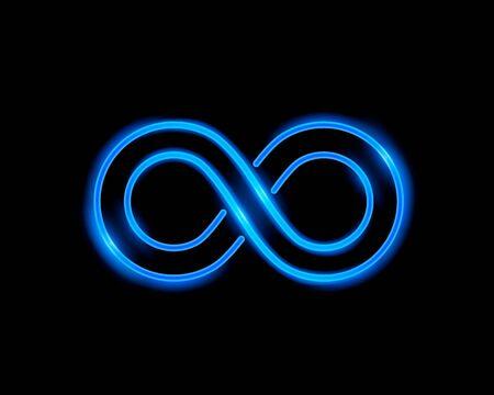 Infinity-Neonsymbol auf blauem Hintergrund. Vektor-Illustration Vektorgrafik