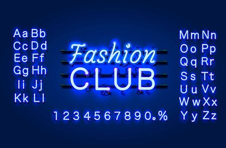Neon Fashion club text banner. Night Sign board. Vector illustration Çizim