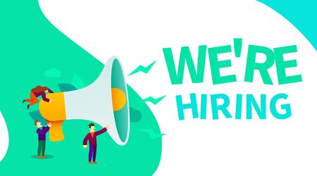 Small cartoon people with megaphone banner. We are hiring. Employer concept. Vector illustration Иллюстрация