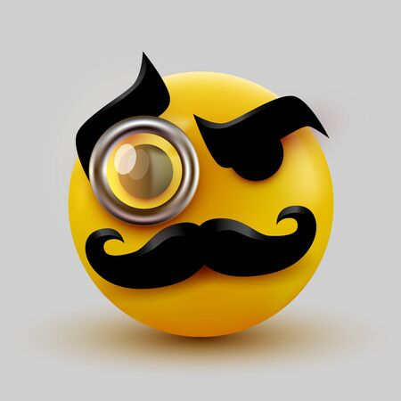Gentleman emoticon. Sir icon with mustache and monocle. Vector illustration
